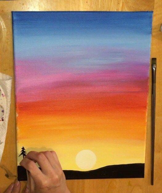 Красивые рисунки заката для срисовки (2)