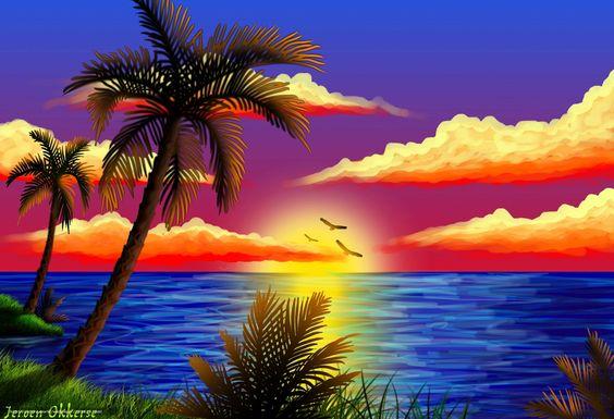 Красивые рисунки заката для срисовки (7)