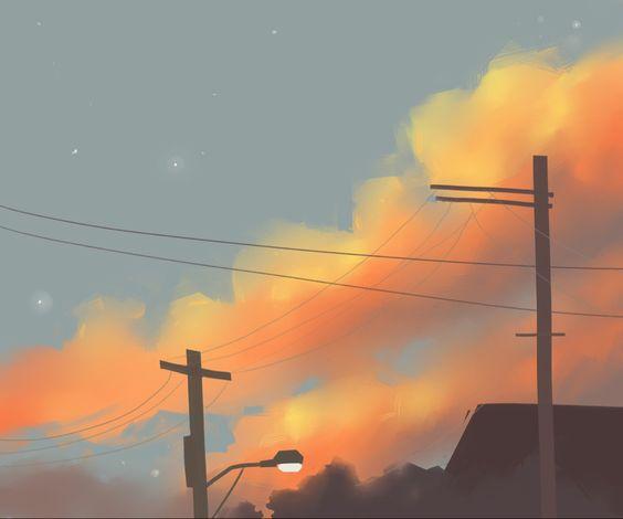 Красивые рисунки заката для срисовки (9)