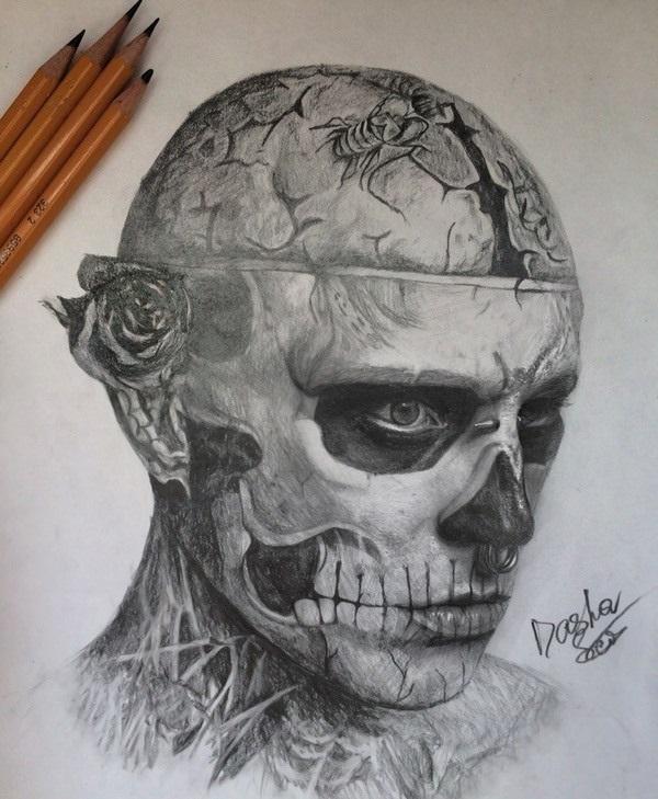 Красивые рисунки зомби для срисовки018