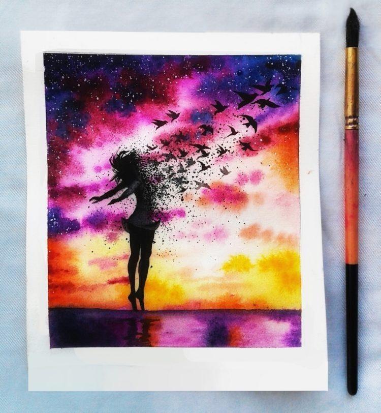 Красивые рисунки красками для срисовки007
