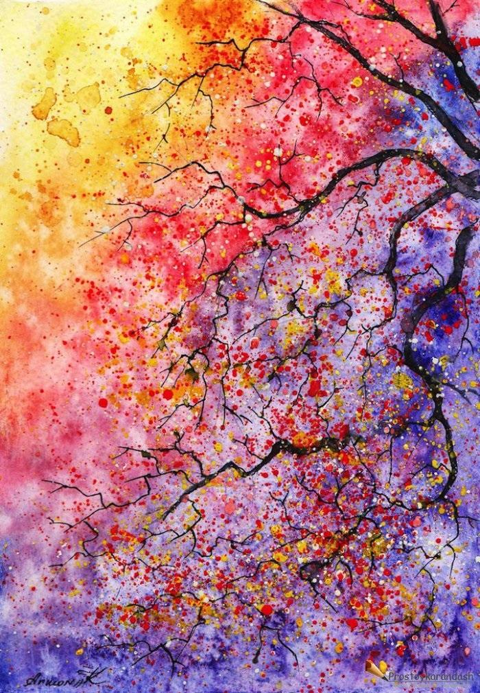 Красивые рисунки красками для срисовки016