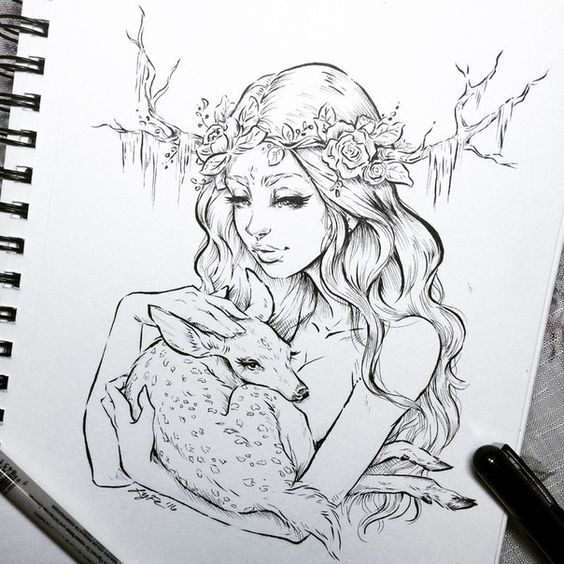 Красивые рисунки русалок для срисовки (11)