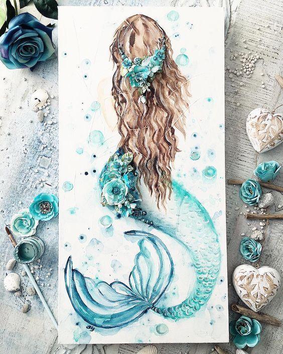 Красивые рисунки русалок для срисовки (12)
