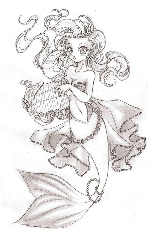 Красивые рисунки русалок для срисовки (13)