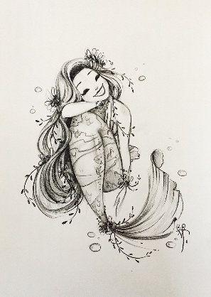 Красивые рисунки русалок для срисовки (14)