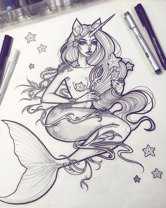 Красивые рисунки русалок для срисовки (20)