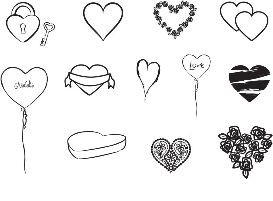 Рисунки сердец карандашом для срисовки