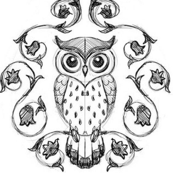 Красивые рисунки совы для срисовки008