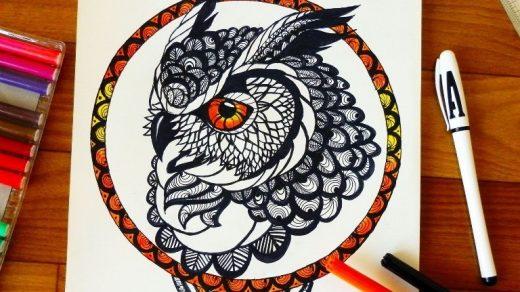 Красивые рисунки совы для срисовки009