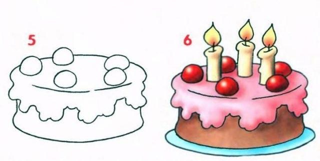 Красивые рисунки тортов для срисовки005