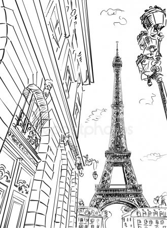 Красивые рисунки улиц для срисовки009