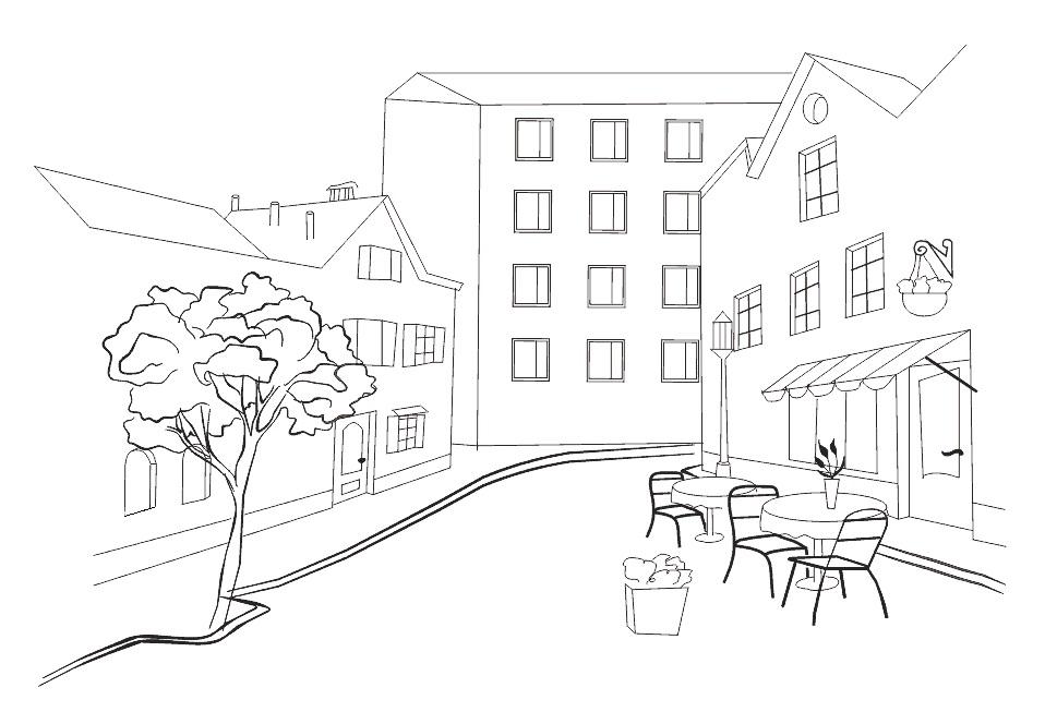Красивые рисунки улиц для срисовки011