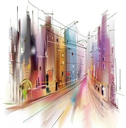Красивые рисунки улиц для срисовки015