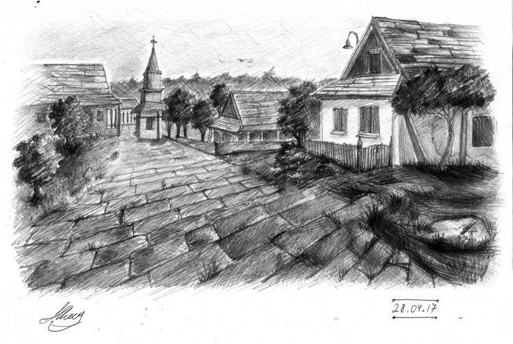 Красивые рисунки улиц для срисовки017