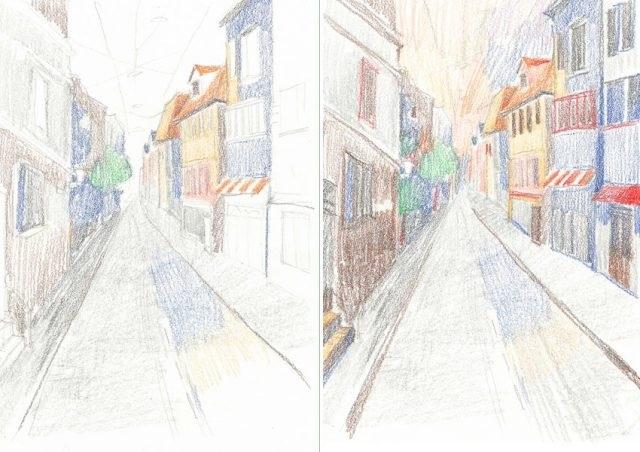 Красивые рисунки улиц для срисовки023