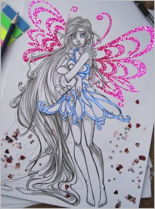 Красивые рисунки фей Винкс для срисовки002