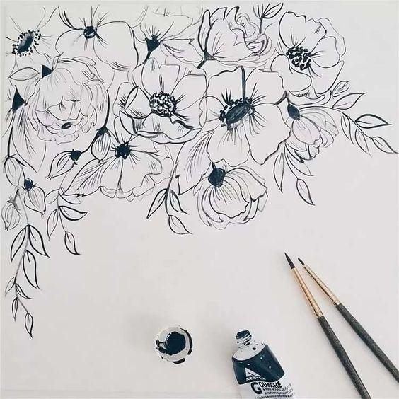 Красивые рисунки цветов для срисовки (10)