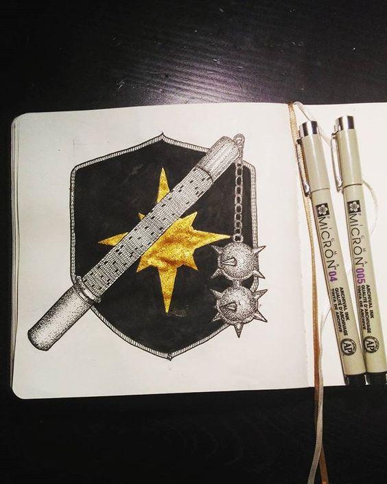 Красивые рисунки щитов и мечей для срисовки (7)