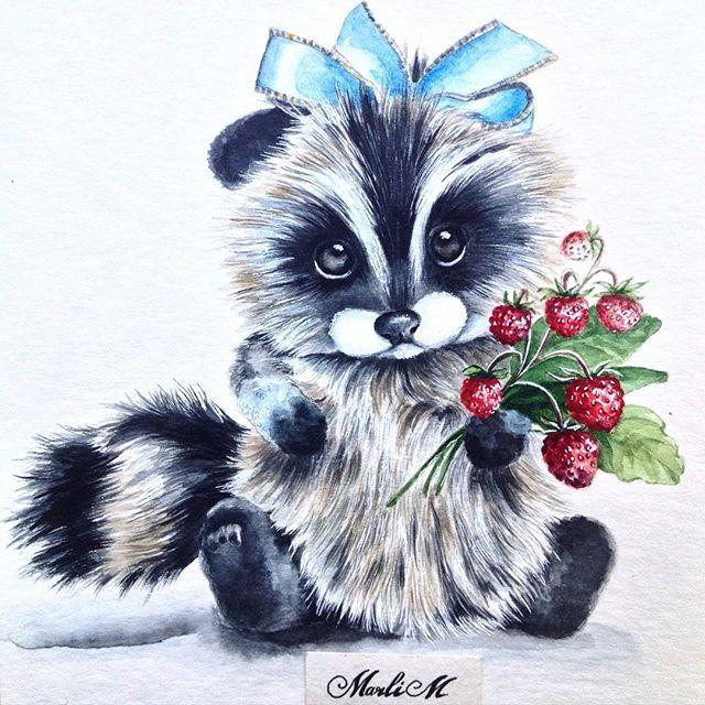 Красивый рисунок акварелью Енот (14)
