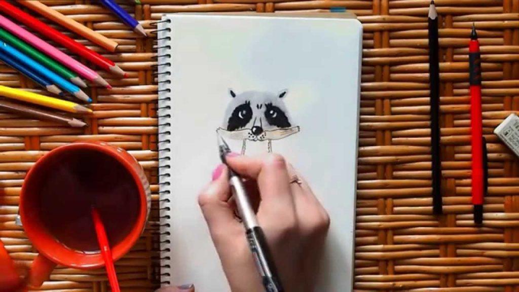 Красивый рисунок акварелью Енот (15)