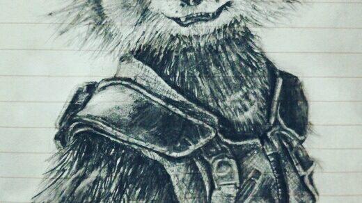 Красивый рисунок акварелью Енот (3)