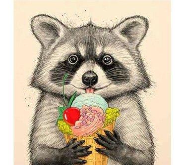 Красивый рисунок акварелью Енот (31)
