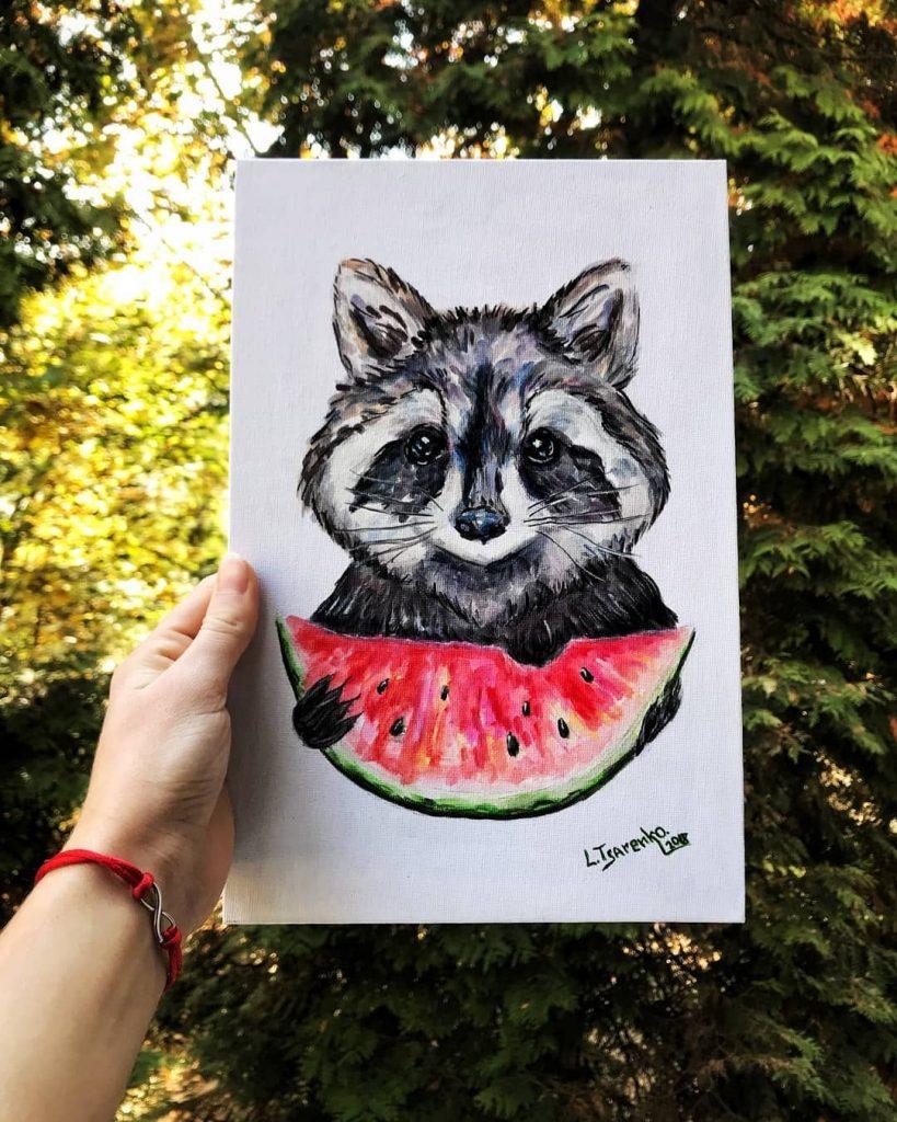 Красивый рисунок акварелью Енот (36)