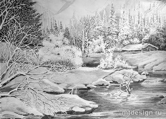 Красивый рисунок карандашом зимы (10)