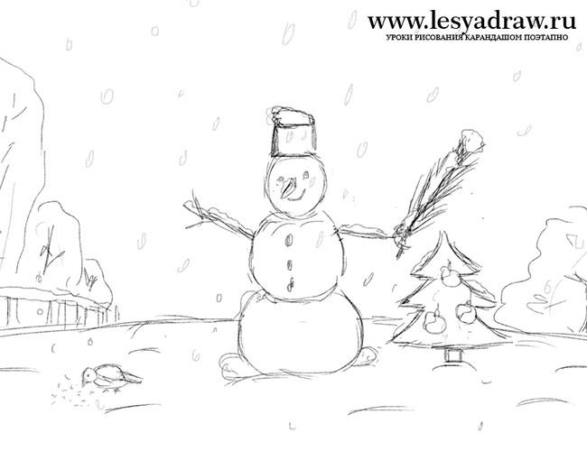 Красивый рисунок карандашом зимы (12)