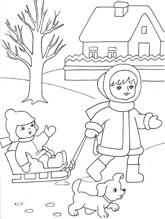 Детские картинки раскраски с зимой