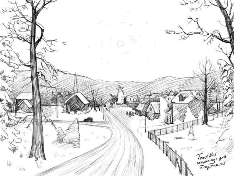 Красивый рисунок карандашом зимы (3)