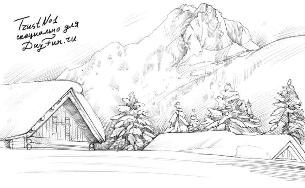 Красивый рисунок карандашом зимы (5)