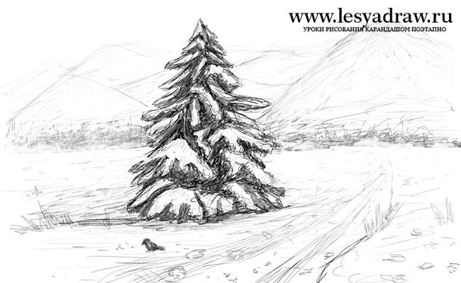 Красивый рисунок карандашом зимы (7)