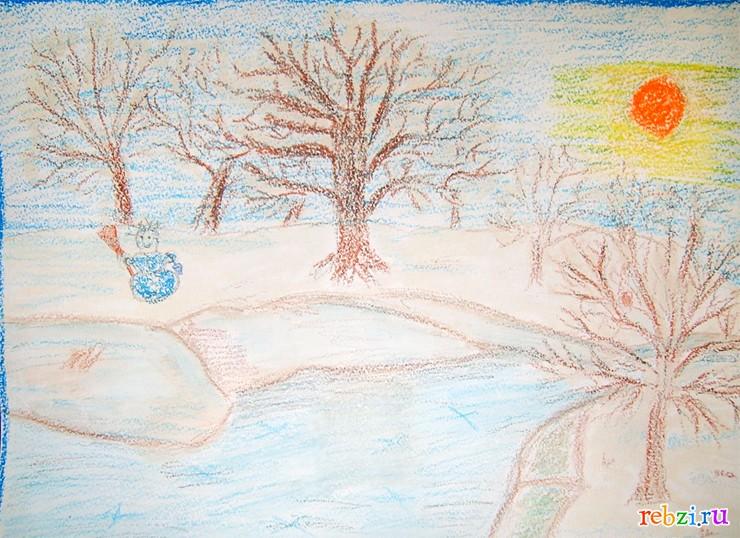 Нарисовать рисунок к рассказу о феврале