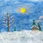 Рисунки зимы для детей 2 класса