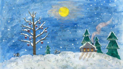 Рисунки зимы для детей 2 класса (1)