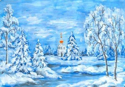 Рисунки зимы для детей 2 класса (11)