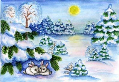 Рисунки зимы для детей 2 класса (12)