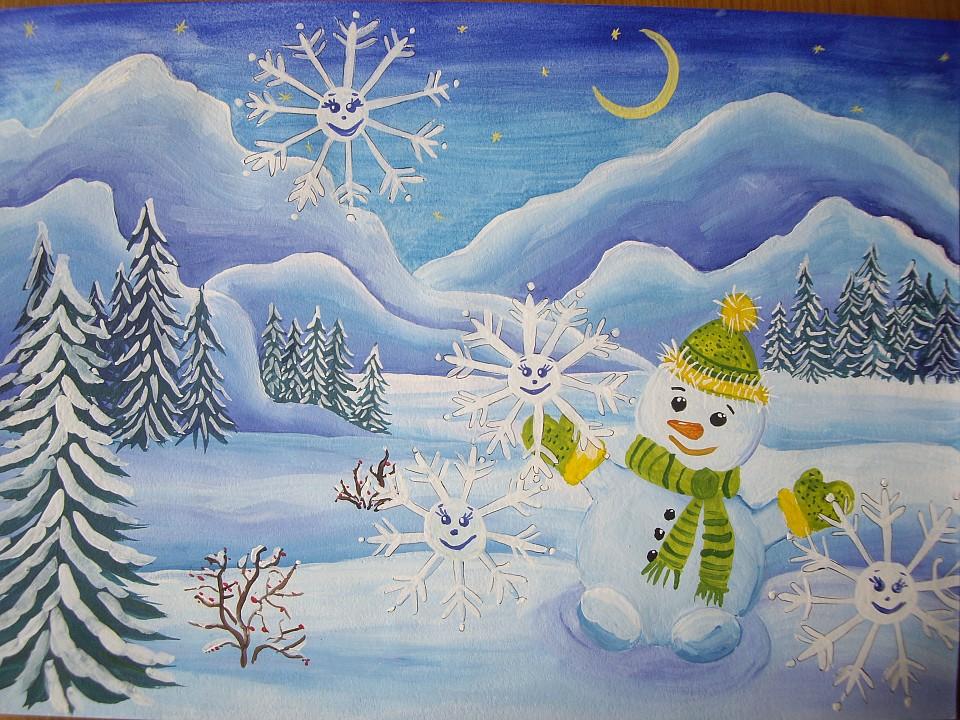 Рисунки зимы для детей 2 класса (15)