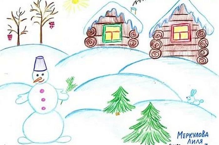 Рисунки зимы для детей 2 класса (17)
