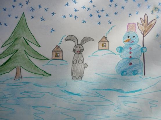 Рисунки зимы для детей 2 класса (18)