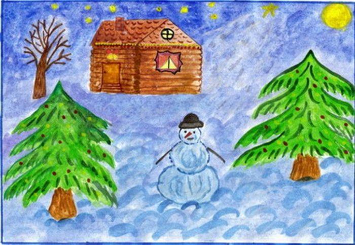 Рисунки зимы для детей 2 класса (2)