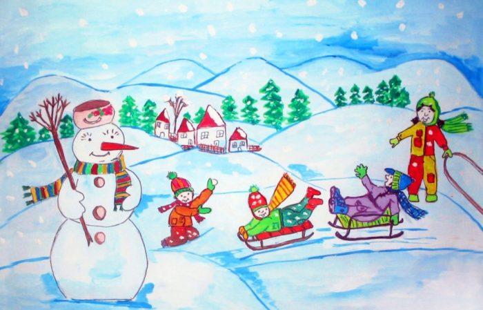 Рисунки зимы для детей 2 класса (3)