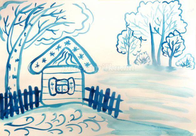 Рисунки зимы для детей 2 класса (5)