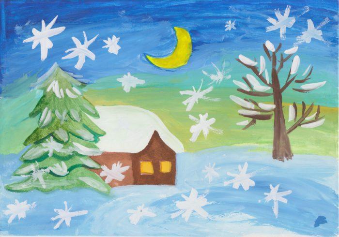Рисунки зимы для детей 2 класса (6)