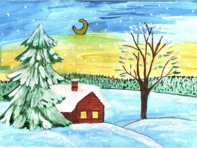 Рисунки зимы для детей 2 класса (7)
