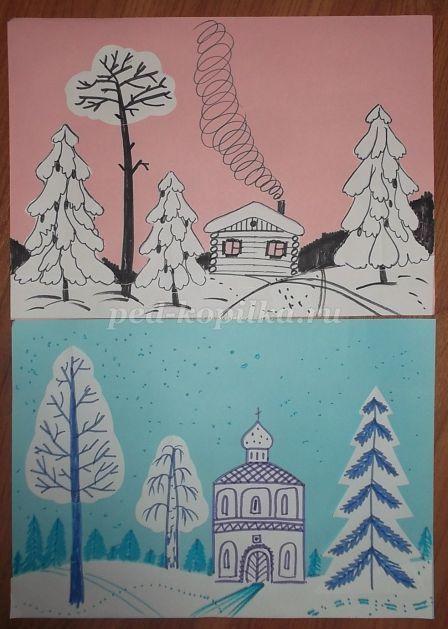 Рисунки зимы для детей 2 класса (8)