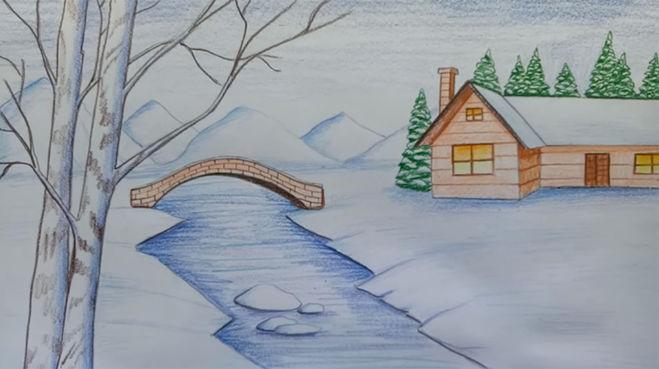Рисунки зимы для детей 2 класса (9)