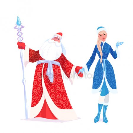 Дед Мороз и Снегурочка красивые рисунки (23)